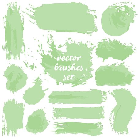Vector illustration isolated on white background. Collection of dirty elements for your design. Large set of two-color strokes, brushes, dots, inks, strokes and lines. Green shades Vector Illustratie