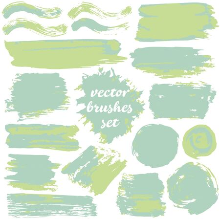 Collection of dirty elements for design. Large set of two-color strokes, brushes and lines. Vector illustration. Isolated. Green shades