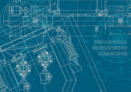 Computer aided design systems. Blueprint, scheme, plan, sketch. Technical illustrations, backgrounds. Corporate style. Machine-building industry. Instrument-making drawing Vector Illustratie