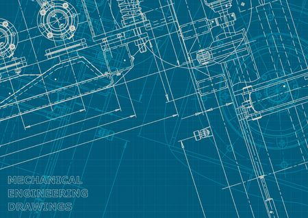 Blueprint. Vector engineering illustration. Computer aided design system. Corporate style Illustration