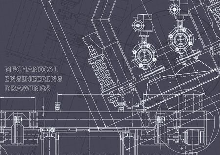 Computer aided design systems. Blueprint, scheme, plan, sketch. Technical illustrations, backgrounds. Mechanical engineering drawing. Machine-building industry. Instrument-making drawings