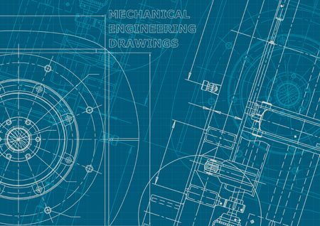 Blueprint. Vector engineering illustration. Cover, flyer, banner, background. Corporate style. Mechanical engineering drawing