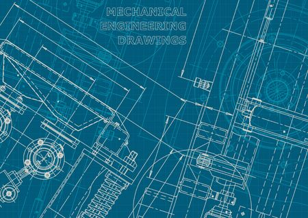 Blueprint. Corporate style engineering illustration. Computer aided design systems. Instrument-making drawings. Mechanical