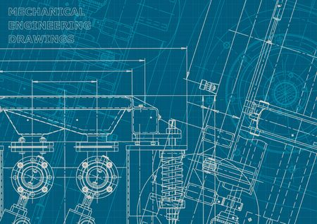 Blueprint. Vector illustration. Computer aided design system. Corporate style