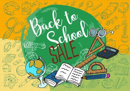 Sale, action. Welcome back to school. Design poster, banner, flyer. School supplies. Doodle. Creative Vector Illustration