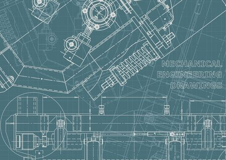 Mechanical instrument making. Technical illustration. Blueprint, cover, banner. Vector engineering drawings. Technical Corporate Identity