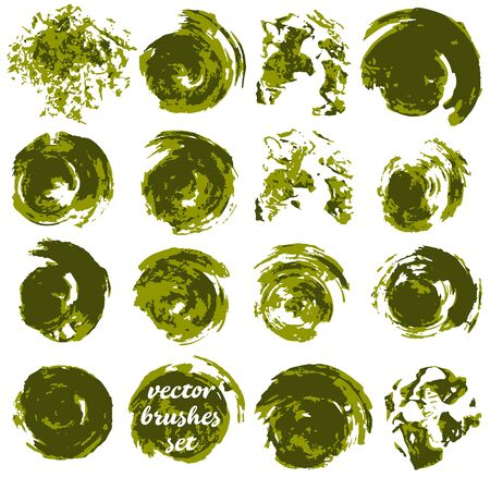 Vector illustration. Collection of green bicolor paint, ink brush strokes, brushes, blots. Dirty design elements