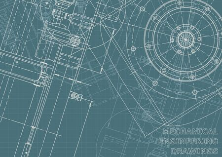 Cover. Vector engineering illustration. Blueprint, flyer, banner, background. Instrument-making drawings. Mechanical engineering drawing. Corporate Identity