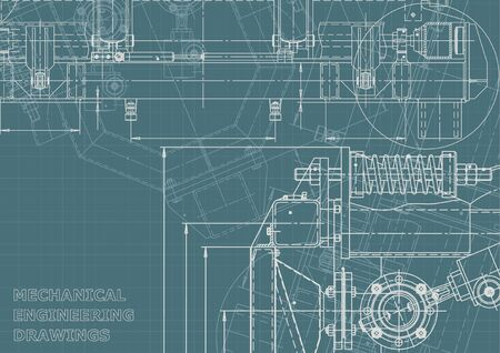 Machine-building industry. Computer aided design systems. Technical illustrations, Corporate Identity. Instrument-making drawings. Blueprint, diagram, plan, sketch Ilustración de vector