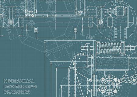 Maschinenbauindustrie. Computergestützte Konstruktionssysteme. Technische Illustrationen, Corporate Identity. Zeichnungen des Instrumentenbaus. Blaupause, Diagramm, Plan, Skizze Vektorgrafik