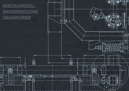 Corporate Identity. Technical illustrations, backgrounds. Mechanical engineering drawing. Machine-building industry