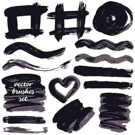Collection of black bicolor paint, ink brush strokes, brushes, blots, lines, grungy. Dirty artistic design elements, boxes, frames. Isolated on white background