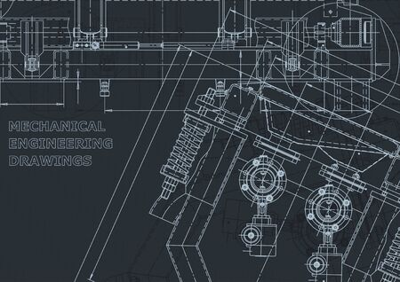 Corporate Identity, sketch. Technical illustrations, backgrounds. Mechanical engineering drawing. Machine-building industry. Instrument-making