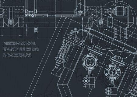 Identité d'entreprise, croquis. Illustrations techniques, arrière-plans. Dessin d'ingénierie mécanique. Industrie de la construction de machines. Fabrication d'instruments