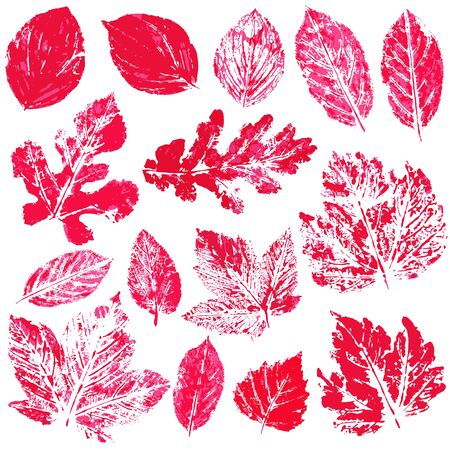Set of vector drawings with acrylic paints. Collection of autumn leaves in red. Two-color print, imprint. Good for autumn design of banners, flyers, advertising