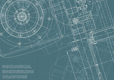 Cover. Vector engineering illustration. Blueprint, flyer, banner, background. Instrument-making drawings. Mechanical engineering drawing. Technical illustrations, backgrounds. Scheme, Outline, Corporate Identity