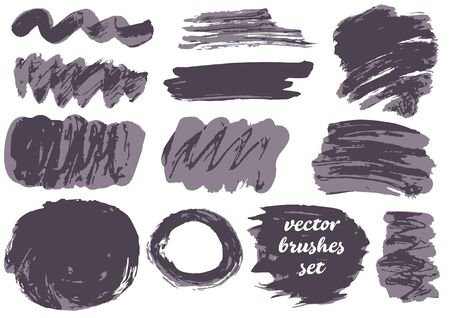 Set of freehand drawing. Collection of black bicolor paint, ink brush strokes, brushes, blots, lines, grungy. Dirty artistic design elements, boxes, frames. Vector