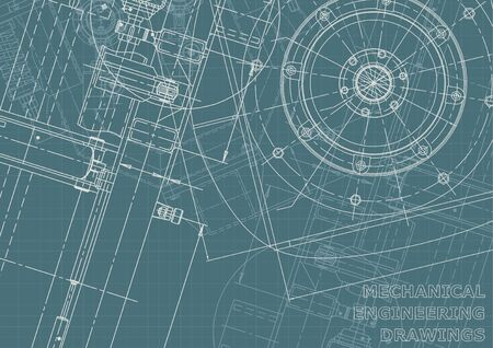 Cover. Corporate Identity. Blueprint, flyer, banner, background. Instrument-making drawings