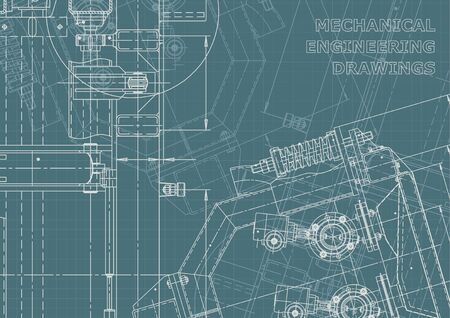 Machine-building industry. Instrument-making drawings. Corporate Identity. Technical illustrations, backgrounds. Mechanical engineering drawing. Blueprint