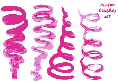 Set of lipstick drawing. Collection of pink bicolor paint, ink brush strokes, brushes, blots, lines, grungy
