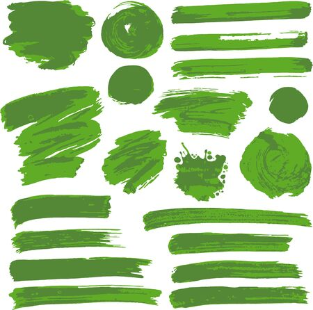 Collection of green paint, ink, brush strokes, brushes, lines, grungy. Waves, circles. Dirty elements of decoration boxes frames Freehand