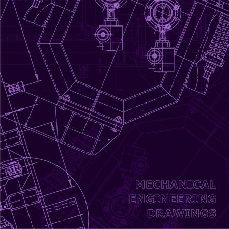Corporate Identity. Blueprint. Vector engineering drawings. Mechanical instrument making. Purple cyberspace