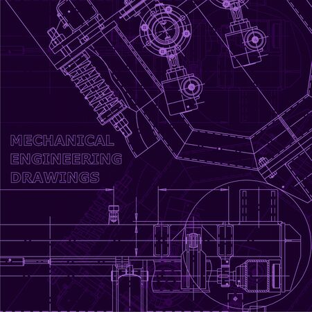 Purple cyberspace. Corporate Identity. Computer aided design systems. Instrument-making drawings. Blueprint