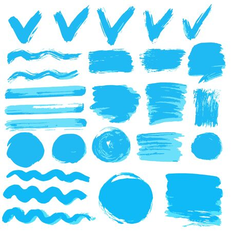 Collection of blue paint, ink, brush strokes, brushes, lines, grungy. Waves circles Dirty elements of decoration