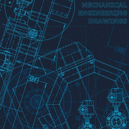 Blueprint. Technical cyberspace. Cover, flyer, banner, background Instrument-making drawings Technical illustration Corporate Identity