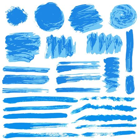 Collection of blue paint, ink, brush strokes, brushes, lines grungy Waves circles