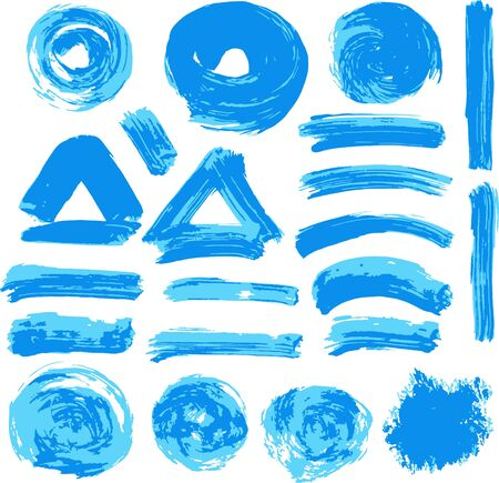 Collection of blue paint, ink, brush strokes, brushes, lines, grungy. Waves, circles, Dirty elements of decoration boxes frames Vector illustration Illustration