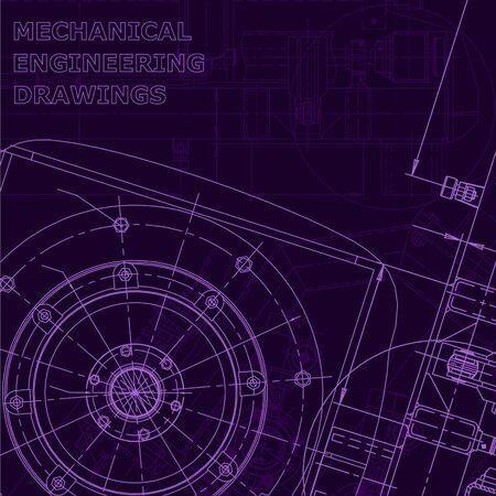 Computer aided design systems. Blueprint, scheme, plan, sketch. Purple cyberspace Mechanical Industry Corporate Identity Vektoros illusztráció