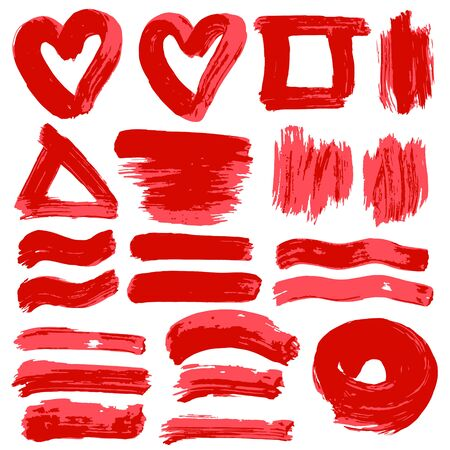 Collection of red paint, ink, brush strokes, brushes, lines, grungy. Dirty elements of decoration, boxes, frames. Vector illustration. Isolated over white background Freehand Illusztráció