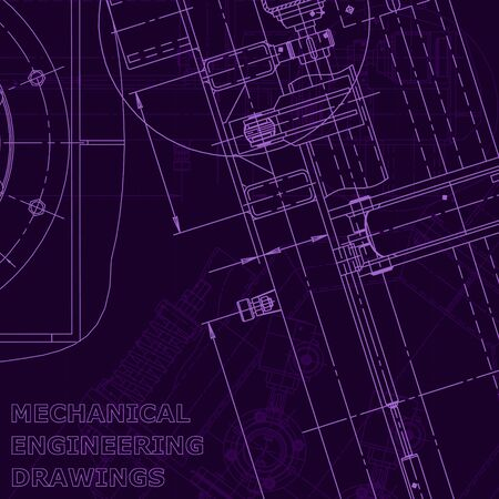 Blueprint, Sketch. Vector engineering illustration. Cover, flyer banner background Mechanical Purple cyberspace