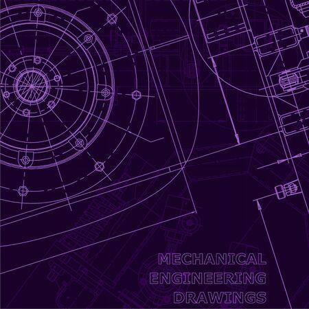 Blueprint. Vector engineering illustration. Cover, flyer Corporate Identity Purple cyberspace Ilustracje wektorowe