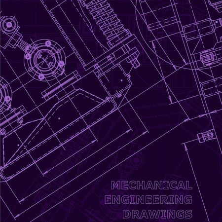 Blueprint. Vector engineering illustration. Purple cyberspace. Instrument-making drawing. Corporate Identity