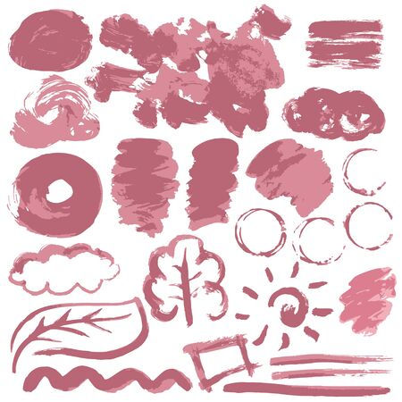 Collection of pink paint, ink, brush strokes, brushes, lines, grungy. Waves, circles. Dirty elements of decoration boxes frames Vector illustration