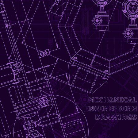 Blueprint. Vector engineering drawings. Mechanical instrument making. Corporate Identity. Purple cyberspace