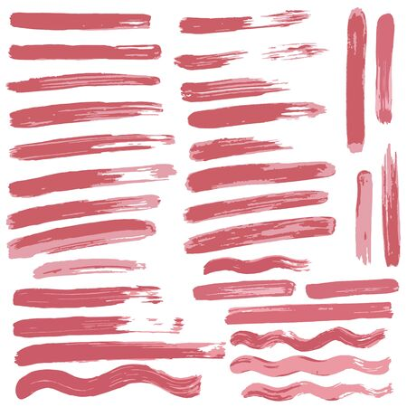 Collection of pink paint, ink, brush strokes, brushes, lines, grungy. Waves, circles. Dirty elements of decoration, boxes, frames. Vector illustration Isolated over white background Freehand drawing