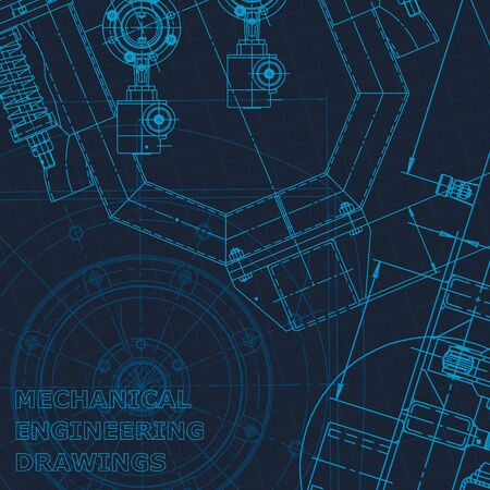 Blueprint. Technical cyberspace. Instrument-making drawings. Mechanical engineering drawing. Technical illustrations, backgrounds Corporate Identity