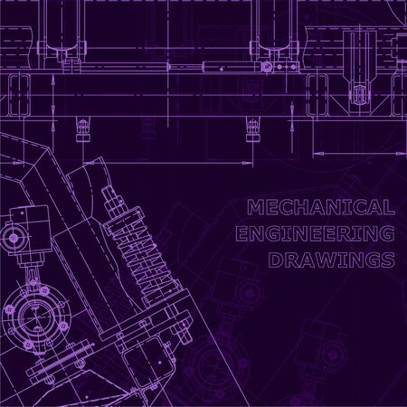 Computer aided design systems. Purple cyberspace drawings. Blueprint, diagram, plan. Corporate Identity Illustration
