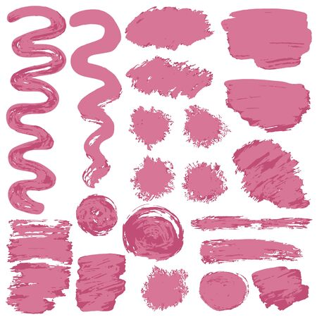 Collection of pink paint, ink, brush strokes, brushes, lines, grungy. Waves, circles, Messy decoration elements, boxes, frames Vector illustration Isolated over white background Freehand Illustration
