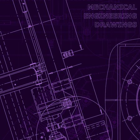 Blueprint. Vector drawing. Mechanical instrument making. Corporate Identity Purple cyberspace