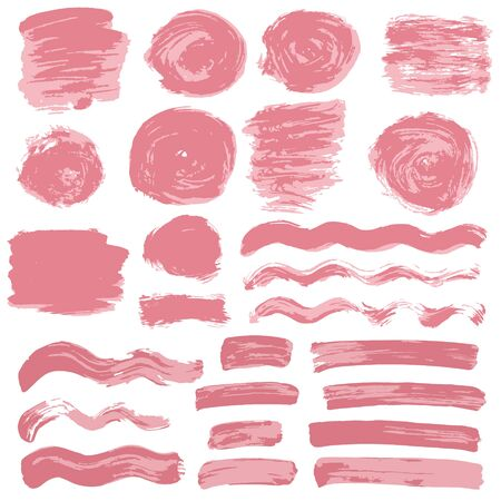 Collection of pink paint, ink, brush strokes, brushes, lines, grungy. Waves, circles, Messy decoration elements, boxes, frames Vector illustration Isolated over white background