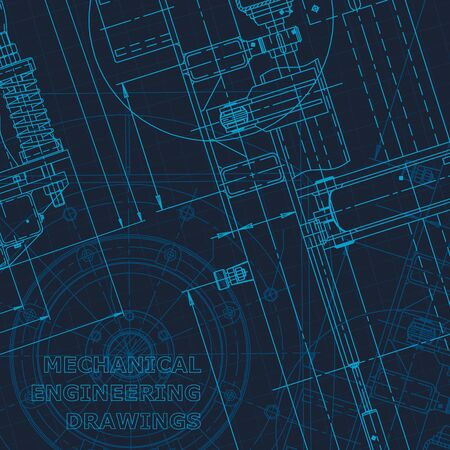 Blueprint. Technical cyberspace. Instrument-making drawings. Mechanical Corporate Identity