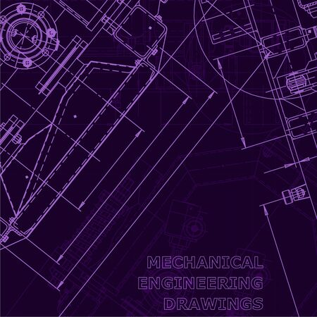 Corporate Identity. Blueprint. Vector engineering illustration. Computer aided design systems. Instrument-making drawings. Mechanical drawing. Purple cyberspace