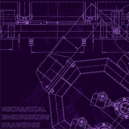 Computer aided design systems. Blueprint, scheme, plan, sketch. Technical Industry Corporate Identity Purple cyberspace