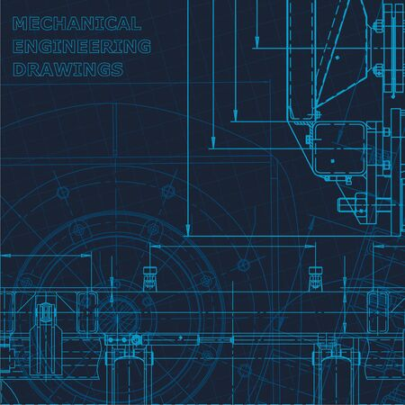 Technical cyberspace. Corporate Identity. Blueprint, scheme, plan, sketch Technical illustrations backgrounds Machine-building industry