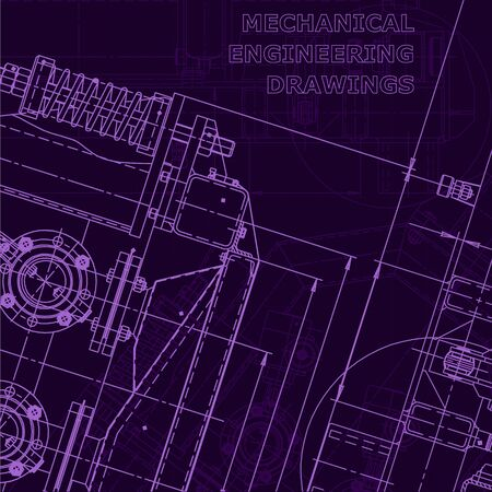 Corporate Identity. Blueprint. Vector engineering illustration. Technical illustrations, Purple cyberspace. Scheme, plan