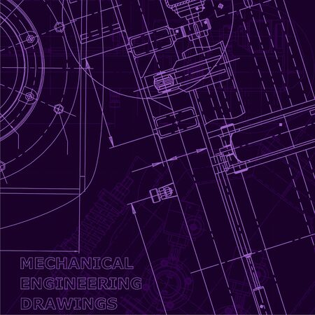 Computer aided design systems. Blueprint, scheme, plan, sketch. Technical illustrations, backgrounds Mechanical engineering Industry Purple cyberspace